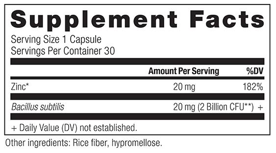 Dr Axe Zinc Plus Supplement Facts
